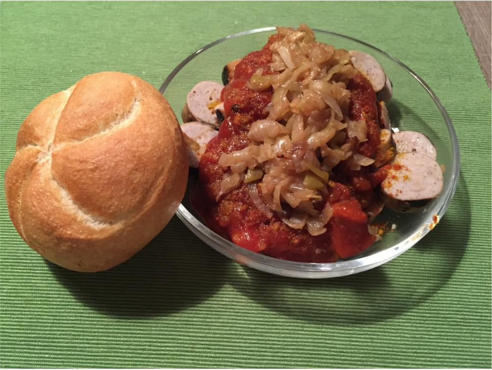 german curry sausage with bread