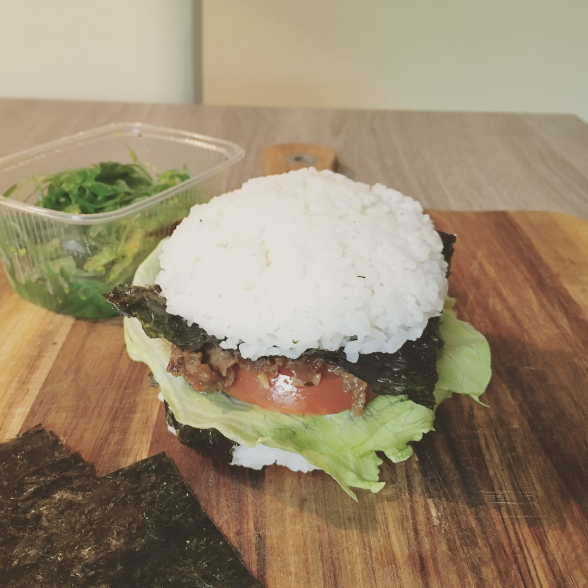 Kimchi beef rice burger Korean Japanese food