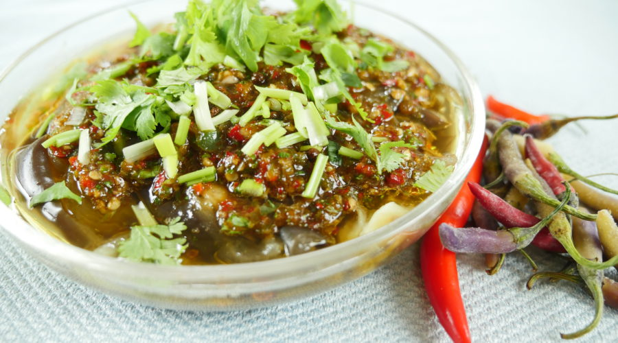 steamed eggplant in chili sauce